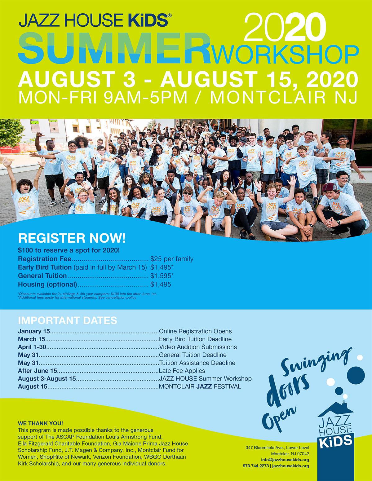 JAZZ HOUSE KiDS Summer Workshop flyer